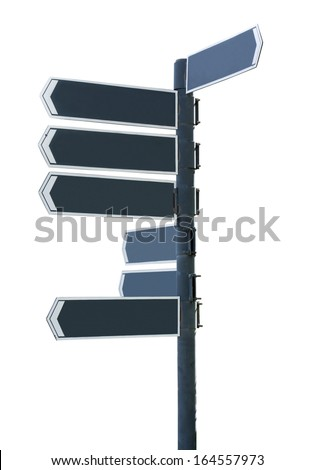 steel road sign with isolated white background