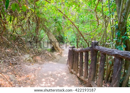 steep stair step in Erawan National Park , Kanchanaburi , Thailand
