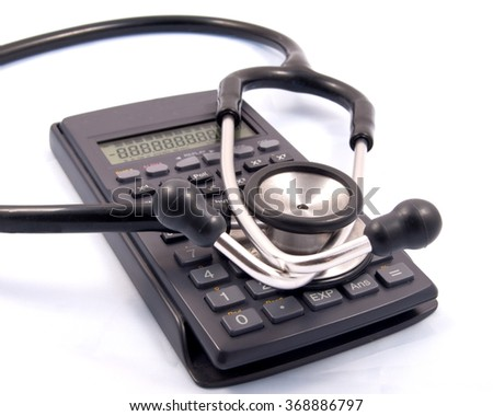 Stephascope placed over a calculator used by Doctors managing budgets