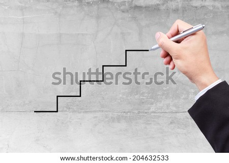 stepping ladder drawn by hand with pen idea concept for success business