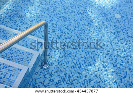 Steps into the pool.Turquoise water.