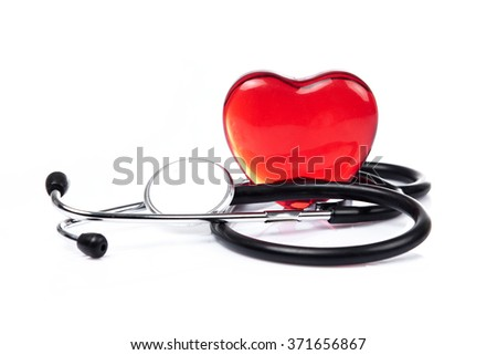Stethoscope with heart. Medical stethoscope and heart isolated on white