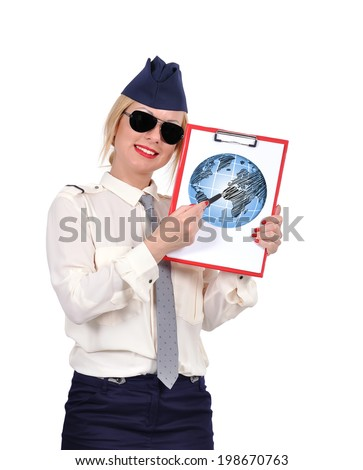 Stewardess holding clipboard with drawing earth