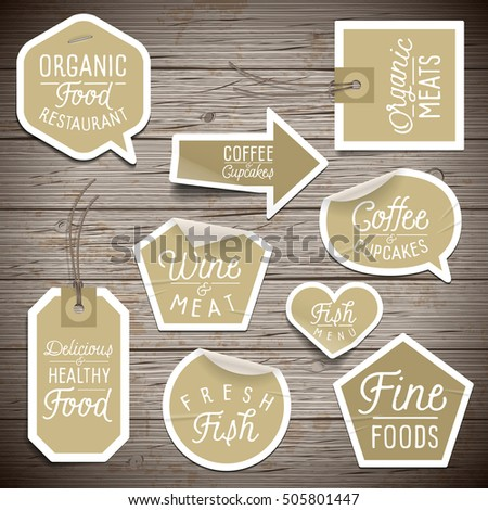 Stickers on rustic wood background for cafe and restaurant.