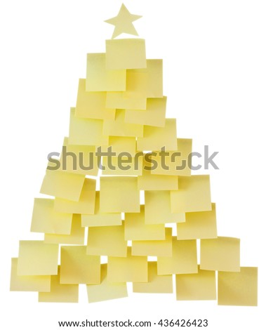 sticky notes in the shape of a pyramid isolated on white