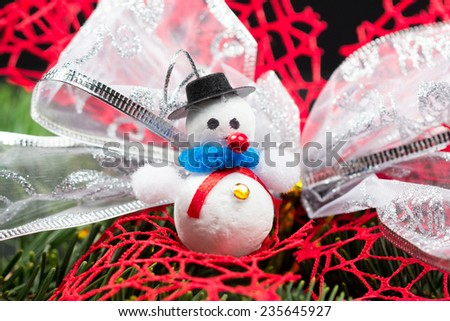 Still life composition with Christmas decorations and objects