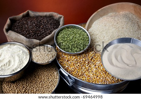 Still life shot of agricultural commodities such as grains and beans