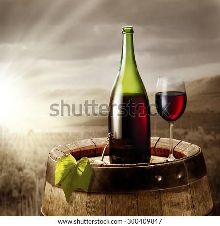 Stilllife Glass Wine Bottle On Barrel Stock Photo
