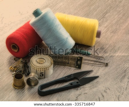Construction Tools On Wooden Background Copy Stock Photo