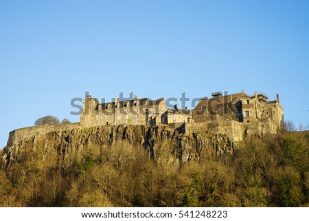 Stirling Castle from the West in late afternoon winter sunshine, Central Scotland, UK
