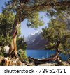 Stitched panorama of beautiful Pamir mountains - stock photo