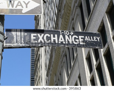Stock Exchange Alley sign by American Stock Exchange in Manhattan, New York City