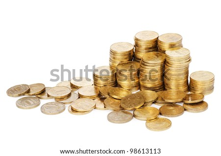 Stock  gold coins  isolated on white background