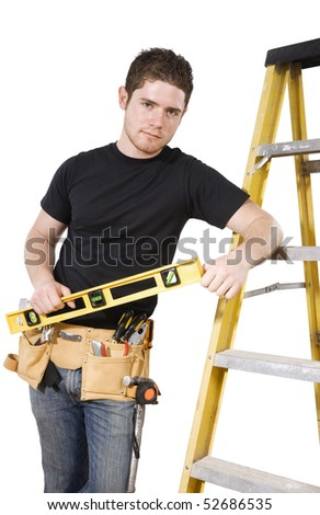 Stock image of male handyman/worker, isolated on white