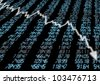Stock Market - Arrow Graph Going Down on Blue Display - stock photo