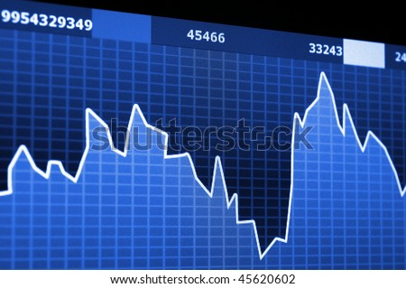 stock market data on computer monitor showing success