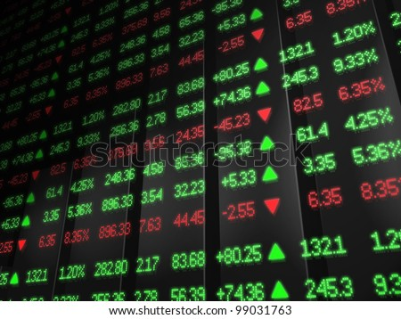 Stock Market Ticker in red and green