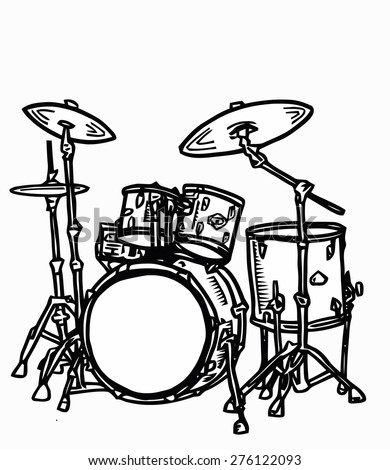 Stock Realistic Illustration Of A Drum Kit With Snare Bass In Cartoon And Sketch Style