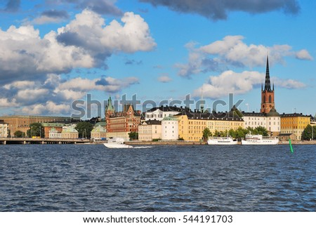 Stockholm in the evening. View of the Old Town and the island Riddarskholmen
