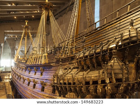 STOCKHOLM - MAY 23: 17th century Vasa warship salvaged from sea at museum in Stockholm on May 23, 2013 in Stockholm Sweden