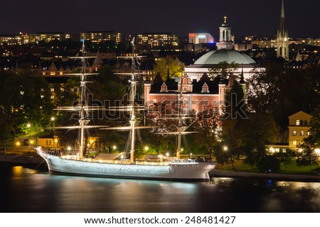 STOCKHOLM/SWEDEN - CIRCA OCTOBER 2010 - The Sailing Ship at night.