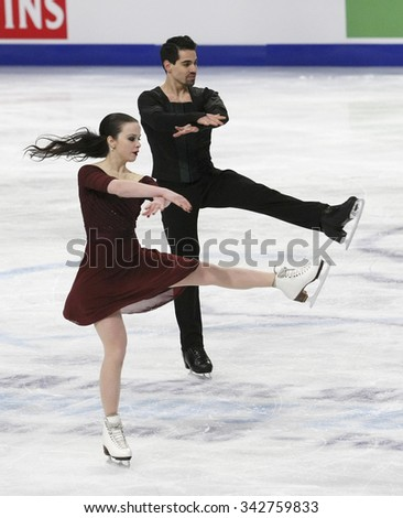 STOCKHOLM, SWEDEN - JANUARY 29, 2015:Anna CAPPELLINI / Luca LANOTTE of Italy perform during ice dance free skating at ISU European Figure Skating Championship in Globen Arena.