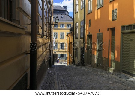 STOCKHOLM, SWEDEN - JUNE 27, 2016: This is one of the old streets of Gamla Stan.