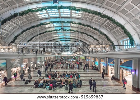 STOCKHOLM, SWEDEN - NOV 16, 2016: Interiour of Stockholm City terminal or T centralen a train and subway hub.