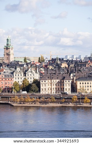 Stockholm, Sweden, 11 October, 2015.  Panoramic view of Stockholm. Gamla Stan, the old part of Stockholm.