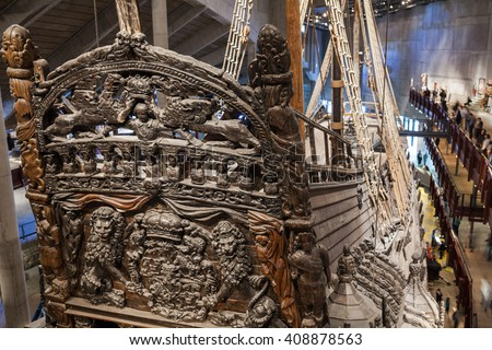 STOCKHOLM, SWEDEN - OCTOBER 12, 2015: The Vasa Museum in Stockholm, displays the old Vasa ship, fully recovered 17th century. Famous ancient viking warship Vasa vessel