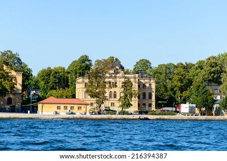 STOCKHOLM, SWEDEN - SEPTEMBER 7, 2014: Djurgarden Island, island in central Stockholm, which is home to historical buildings and monuments, museums.