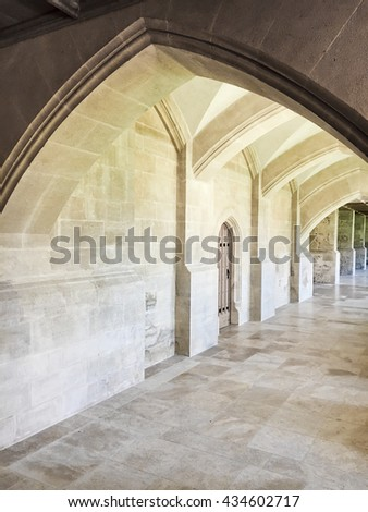 Stone arches in a renovated medieval building