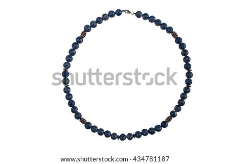 Stone beads necklace isolated on white background