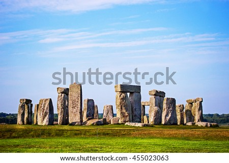 Stonehenge in Wiltshire in Great Britain in cloudy weather. It is a prehistoric monument, in Wiltshire in South West England. It is under protection of UNESCO.