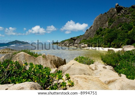 Stones and rocks on island on a background of ocean