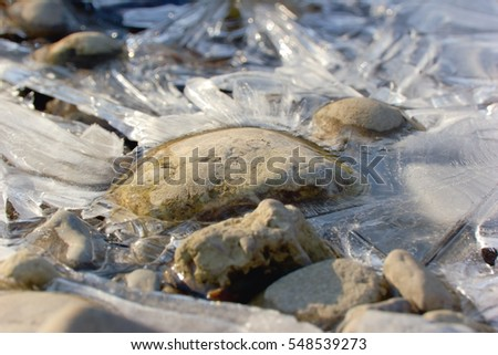 Stones in a frozen river.