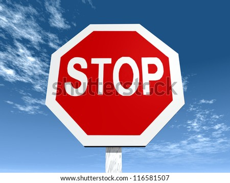 Stop Sign Computer generated 3D illustration