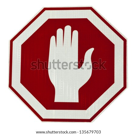 Stop sign isolated on white background. Clipping path included.