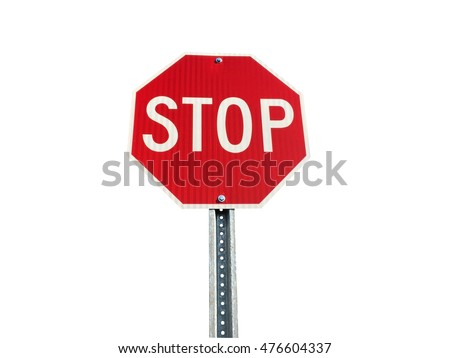 Stop sign isolated on white with clipping path