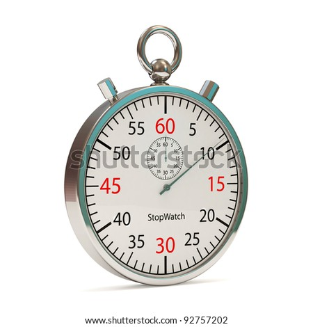 Stopwatch on white background (Hight Resolution 3D Image)