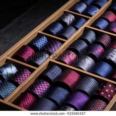 store display and collection of man's neckties