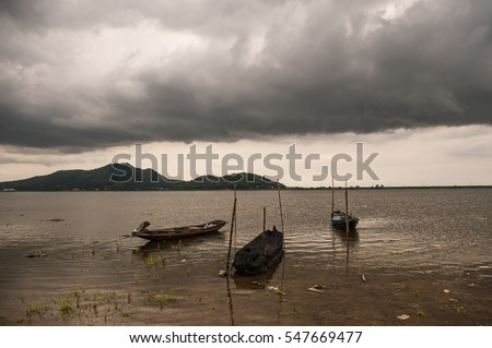 Storm cloud over Bang-Pra reservoir , Chonburi province, Thailand