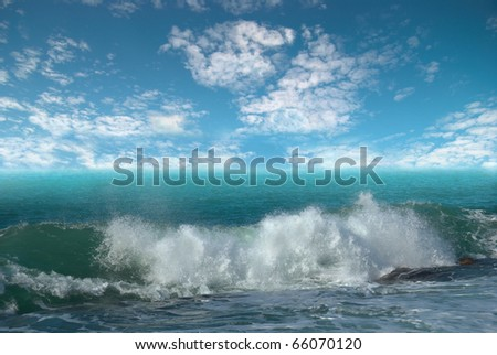 Storm on the sea with dark cloudy sky