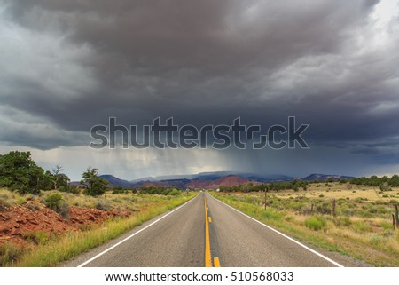 Stormy sky over highway in Utah
