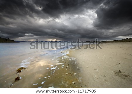Stormy weather approaching the shore. Tasmania