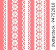straight lace set. Seamless lace trims for use with fabric projects, backgrounds or scrap-booking.  Elements can also be used as brushes - stock vector
