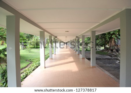 Straight pathway between buildings