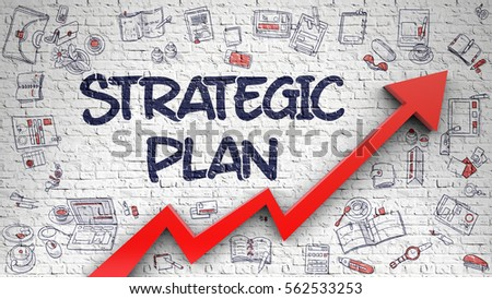 Strategic Plan Inscription On The Modern Illustration. With Red Arrow And  Doodle Icons Around.