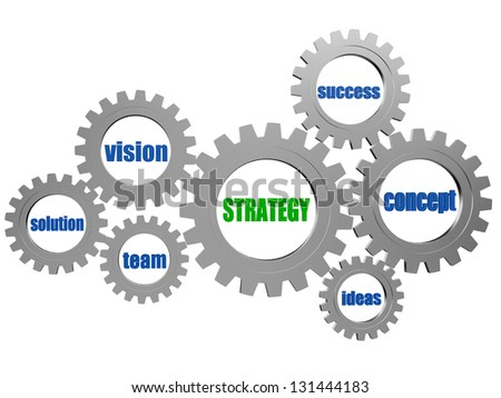 strategy and business concept words in 3d silver grey gearwheels