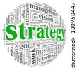 Strategy and management concept in word tag cloud - stock photo